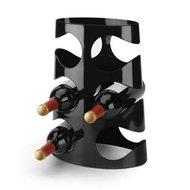 Afbeelding van de met flessen gevulde Umbra Grapevine Black wijnrek - 6 flessen