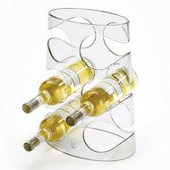 Afbeelding van de met flessen gevulde Umbra Grapevine Clear wijnrek - 6 flessen